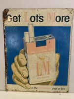 "Original Tin LM Filters Cigarette Tobacco Poster Sign 1950's ""Get Lots More"""
