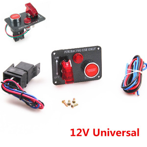 Race Car Ignition Switch Panel Engine Start Toggle Push Button DC 12V Universal