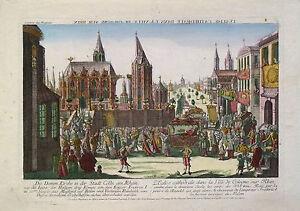 Bergmüller: Die Domm Kirche in Cölln. Kolorierter Kupferstich um 1740