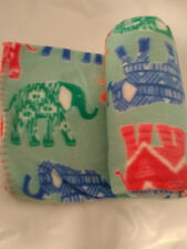 Elephant fleece blanket throw New whip stitch ends colorful on both sides