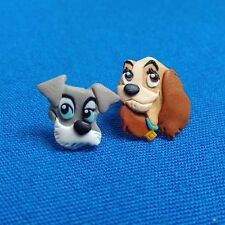 Funny Lady and The Tramp Handmade Polymer Clay Stud Dogs Toy Earrings Jewelry