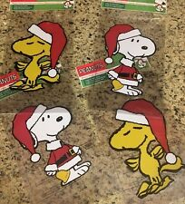 Snoopy Woodstock Christmas Holiday Window Clings Reusable Stickers S/4 Magnet
