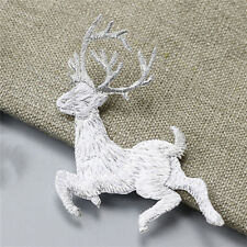 Deer Embroidery Sew-On Iron-On Patch Badge Fabric Bag Applique Christmas . Codl