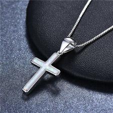 Fashion Woman 925 Silver Cross White Fire Opal Charm Pendant Necklace Chain ~~!