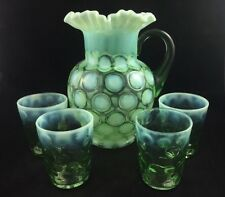 "FENTON Opalescent Vaseline Glass COINSPOT Coin Spot 9 1/2"" Pitcher & 4 Tumblers"