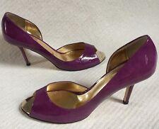 New Jinny Kim Purple Magenta D'Orsay Patent Heels Peektoes sz 40