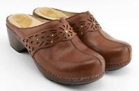 DANKSO SHYANNE LEATHER SANDALS SLIDES SHOES CLOGS SIZE 41 EU 10.5 - 11 US BROWN