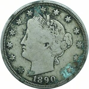 USA / 1890 V NICKEL LIBERTY HEAD / 5 CENT / COLLECTIBLE     #WT19196