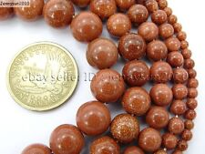 Natural Gold or Blue Sand Gemstone Round Beads 15.5'' 2mm 4mm 6mm 8mm 10mm 12mm