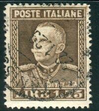 1929 Regno lire 1,75 bruno dent. 13 3/4 usato tiratura ENNA centrato SPL