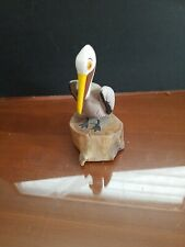 A&M Pelican On Piling Hand Carved Wood Tropical Sculpture Bird Decor