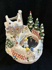 PartyLite P7651 Snowbell Candle Holder Snowman Ice Skater/Music Box Christmas