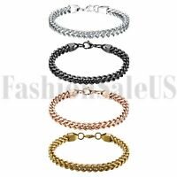 Fashion Polished Stainless Steel Wheat Link Chain Men's Boys Bracelet Bangle 6mm