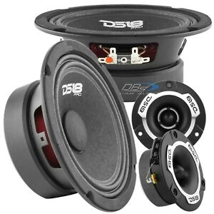"2x DS18 PRO-GM6.4 6.5"" Midrange Car Speakers 2x PRO-TWX1SL Super Bullet Tweeters"
