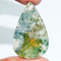 Cts. 35.60 Natural Moss Agate Cabochon Pear Shape Cab Loose Gemstone