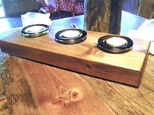 SALE! Wood slab candle holder, COMPLETE set with 3 amber glass votives #330