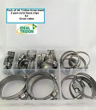 TRIDON WORM DRIVE HOSE CLIP KIT 46 pcs 8mm band width, 6 sizes. GREAT VALUE