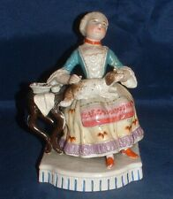 GERMAN GLAZED PORCELAIN SEATED FIGURE WITH DOG C.1875 BY CONTA & BOEHME.