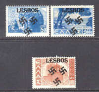 GREECE UNLISTED LESBOS LOCAL OVERPRINTS €150 OG NH U/M F-VF SOUND x3 DIFFERENT