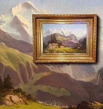 Bella Paesaggio di alta montagna. Antico Dipinti a olio intorno 1880 Stile Mahon