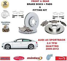 Escotilla para Audi A5 Quattro 2.0 TFSI DELANTERO + TRASERO DISCOS DE FRENO & Kit De Montaje Pastillas +