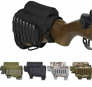 Rifle Buttstock Adjustable Tactical Shell Ammo Pouch Holder W/7 Shells Holder