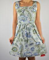 New Joe Browns Sage Green Aline Dress Floral Cotton Holiday Summer Size 12 AZ