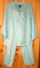 Rafaella Light Teal Linen Embroidered Pants Outfit, Top Size 10, Pants Size 8