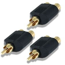 3 Pack RCA Y-Splitter 1 Male Plug to 2 Female Connector for Audio or Video Cable
