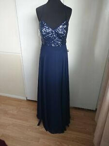 Bridesmaid prom gown evening cocktail party dress navy blue 18
