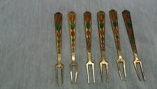Nice vintage 6  Russian 875 silver gilt enamel forks