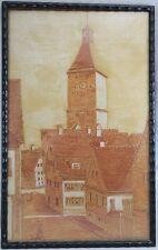 Gänsturm Ulm Handzeichnung / Wachs auf Papier April 1916