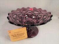 Viking Glass Diamond Thumbprint Pedestal Footed Candy Dish EAPG Amethyst Tag