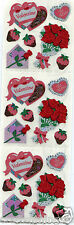 Sandylion Glittery VALENTINE HEARTS CHOCOLATES RED ROSES Scrapbook Stickers H52