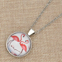 "PINK FLAMINGO BIRD charm pendant Sterling Silver 925 P/L 20"" necklace women"