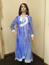 "40"" M-L Kurti Jeans Top Boho Tunic Kaftan Bollywood Indian Kurthy Blue White K36"