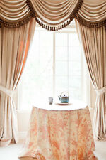 Pearl Dahlia Velvet curtain set with swags and tails, Victorian Style