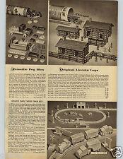 1957 PAPER AD Toy Building Peg Blox Lincoln Logs Wood Train Geometric Shapes