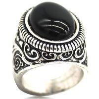 SZ 7-15 Men Retro Vintage Black Onyx Ring Puzzle Turkish Gemstone Christmas Gift