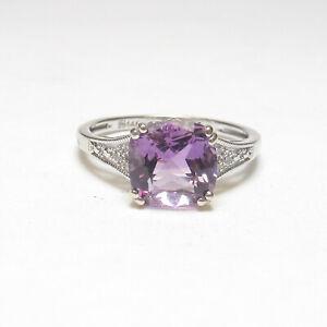 Estate 14K White Gold 2.40 Ct Natural Grape Purple Amethyst And Diamond Ring