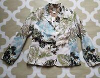 NWT CHICO'S Leaf Print Cotton/ Silk Hadria Jacket Blazer size 1, M, MSRP $118