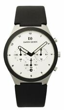 Danish Design IQ12Q885 White Dial Chronograph Black Leather Quartz Men's Watch