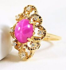 Exotic Vintage 14k Gold, Star Ruby, and Diamond Ring