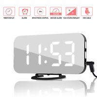 Réveil Multifonction Numérique LED Miroir Horloge Température Calendrier FR