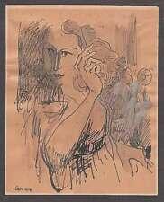 JUDAICA DAVID HENDLER PORTRAIT OF AVIVA URI INK WATERCOLOR GOUACHE SIGNED 1950s