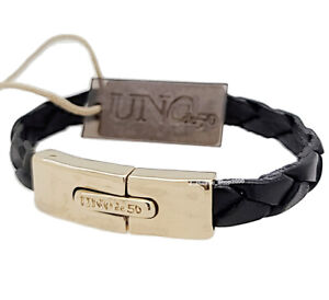 New Uno De 50 Gold Tone Men's Black Leather In Touch Bracelet PUL2005NGRORO0M