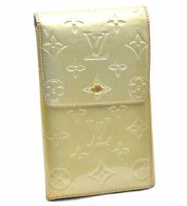Authentic Louis Vuitton Vernis Walker Shoulder Wallet Light Green LV A4084