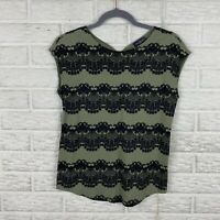 The Limited Women Top Size Small Green Short Cap Sleeve Floral Lace Keyhole