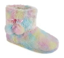 Ladies Rainbow Plush Boot Slipper
