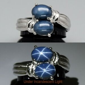 7x5mm Natural 6 Ray Dark Blue Star-Sapphire Ring in 925 Sterling Silver